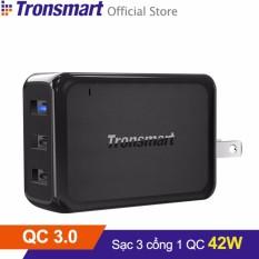 Sạc TRONSMART W3PTA 3 cổng 42w Quick Charge 3.0 (Đen) - Hãng phân phối chính thức
