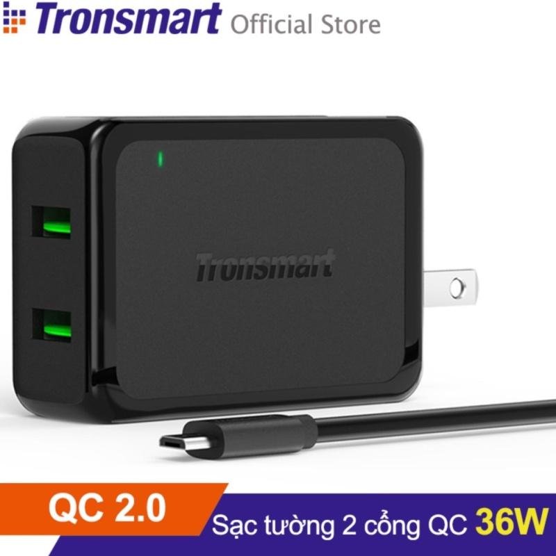 Sạc TRONSMART WC2F 2 cổng 36w Quick Charge 2.0 (Đen) - Hãng phân phối chính thức
