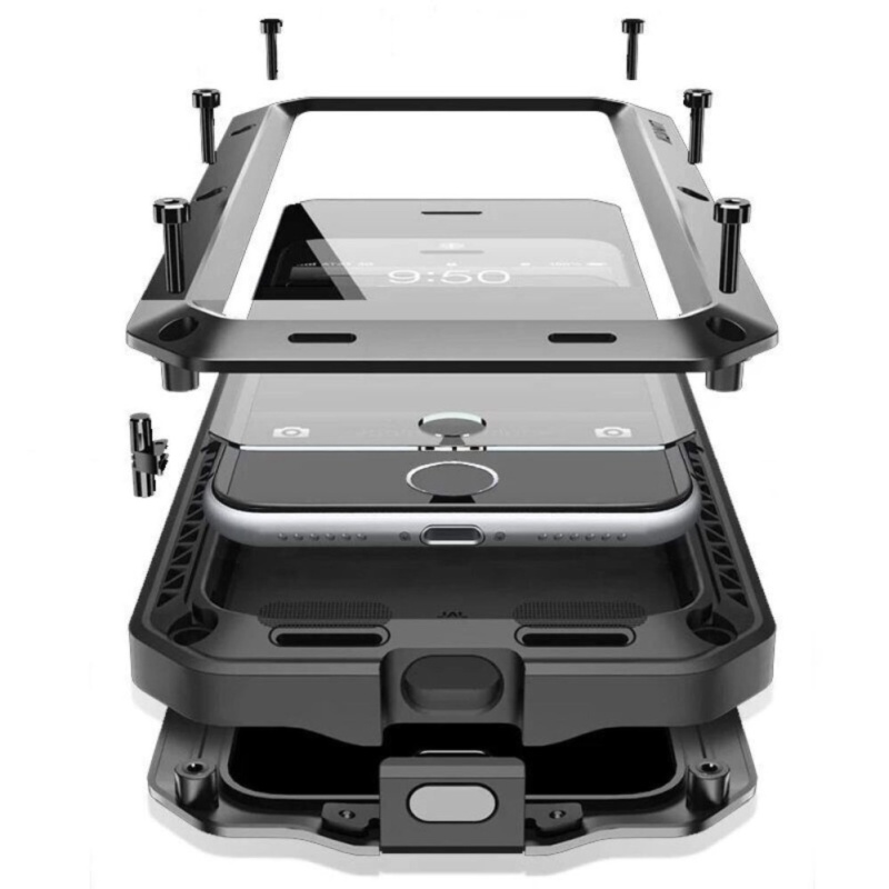 Giá Chống sốc Chống Bụi Chống Nước Nhôm Hợp Kim Kim Loại Miếng Dán Kính Cường Lực Dành Cho Applefor Iphone 7 Plus 5.5 inch (Màu: màu đen)-quốc tế