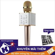 Chiết Khấu Sieu Phẩm Micro Bluetooth Kiem Loa Q7 2107 Kim Nhung Vang Bộ Bấm Mong Tay 12 Mon