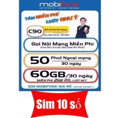 Sim 10 số 4G MOBI C90 Chuẩn Gold. Tặng 62GB và 43.000 phút miễn phí/tháng.