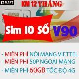 Bán Sim 10 Số 4G Viettel V90 60Gb 4350 Phut Gọi Miễn Phi Thang Viettel Có Thương Hiệu
