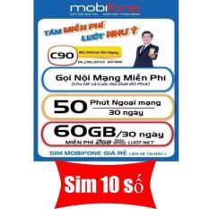 Sim 4G 10 số mobifone C90+ (120Gb + 8700 phút gọi / 60 ngày)