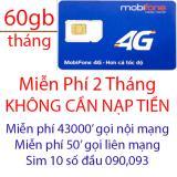 Giá Bán Sim 4G Mobi C90 Miễn Phi 2 Thang Khong Cần Nạp Tiền Mới Rẻ