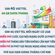 Mua Sim 4G Viettel 60Gb Tren Thang Miễn Phi Gọi Nội Mạng Viettel Rẻ