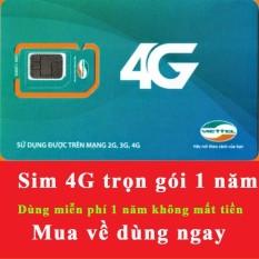 Sim 4G Viettel trọn gói 1 năm sử dụng (4GB/THÁNG) - không mất tiền gia hạn