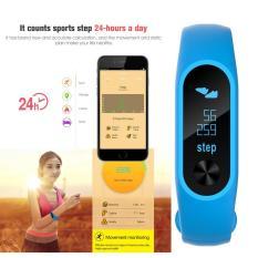 Thông minh Bluetooth 4.2 Vòng Đeo Tay Đo Nhịp Tim 0.86 ''OLED (Xanh Dương)-quốc tế