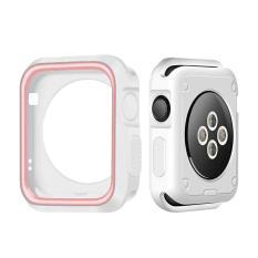 Hình ảnh Mềm mại Chống Sốc Dẻo Silicone Ốp Lưng Bảo Vệ Khung Ốp cho Apple iWatch Đồng Hồ Thông Minh Smart Watch 42 mét Phiên Bản Thể Thao Series 1 2 3 (trắng + Hồng/Đen + Đỏ) -quốc tế