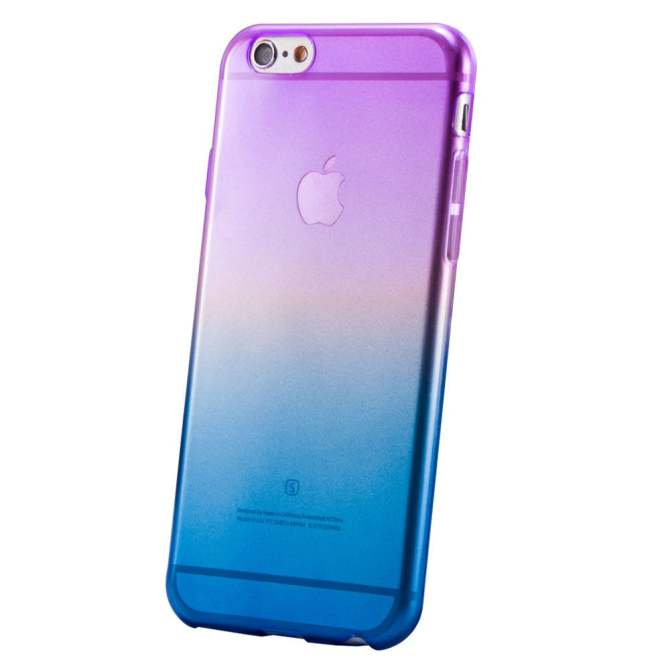 Soft Silicone Clear Ombre Case Slim for iPhone 6/6S (Purple/Blue)