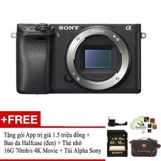 Mua Sony Alpha A6300 24Mp Body Đen Tặng Goi Cai Ứng Dụng Application 1 Bao Da Halfcase Sony A6300 Cao Cấp 1 Thẻ 16G 70Mb S 4K Movie 1 Tui Sony Alpha Rẻ