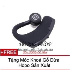 Tai Nghe Bluetooth V9 (Đen) - Hàng Nhập Khẩu LOẠI 1 + TẶNG MÓC KHOÁ GỖ DỪA HOPO