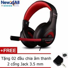 Bán Tai Nghe Chụp Tai Ovann X4 Pro Gaming Headsets Ovann X4 Đen Đỏ Tặng 2 Đầu Chia Am Thanh 2 Cổng Jack 3 5Mm Có Thương Hiệu