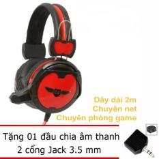 Giá Bán Tai Nghe Game Thủ W6500 Đen Phối Đỏ Tặng Jack Chia Stereo 1 Ra 2 Cổng Nguyên