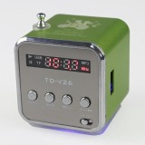 TD-V26 Speaker with FM Radio, Auxiliary In, and Micro USB Card Slot (Green) - intl