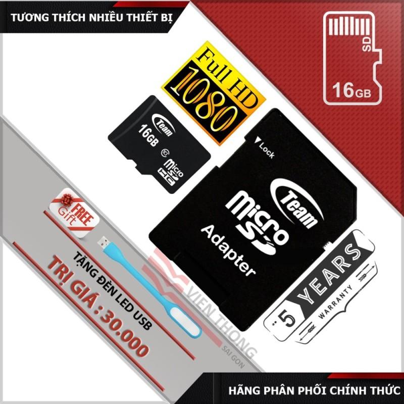 Thẻ nhớ 16GB Class 10 Team MicroSDHC  và Adapter + đèn Led USB