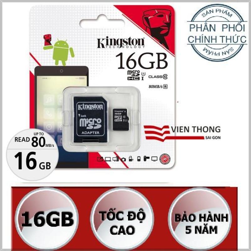 Thẻ nhớ 16gb Kingston Tốc độ cao UHS1 Micro SDHC + Adapter - Hãng Phân Phối Chính Thức