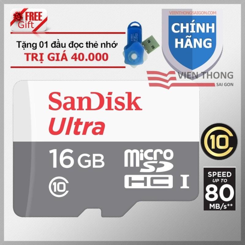 Thẻ Nhớ 16gb microSDHC SanDisk Ultra UHS-I up to 80mb/s - Hãng phân phối chính thức + tặng đầu đọc thẻ nhớ Micro PT