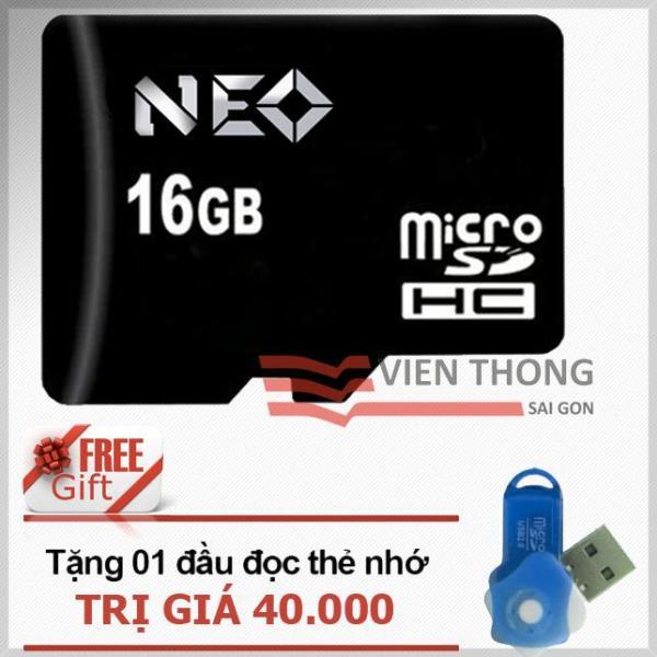 Thẻ nhớ 16GB NEO micro SDHC (Đen) - Chính Hãng + Tặng đầu đọc micro PT