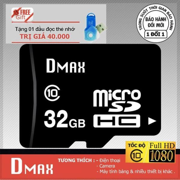 Thẻ nhớ 32GB Dmax Micro SDHC class 10+Tặng đầu đọc micro PT