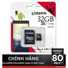 Thẻ nhớ 32GB Micro SDHC Kingston up to 80mb/s + Adpater - Hãng Phân Phối chính thức
