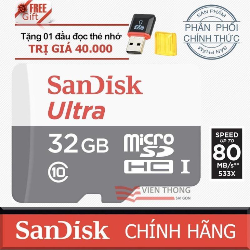 Thẻ nhớ 32gb MicroSDHC SanDisk up to 80MB/s chính hãng + 1 đầu đọc micro pt