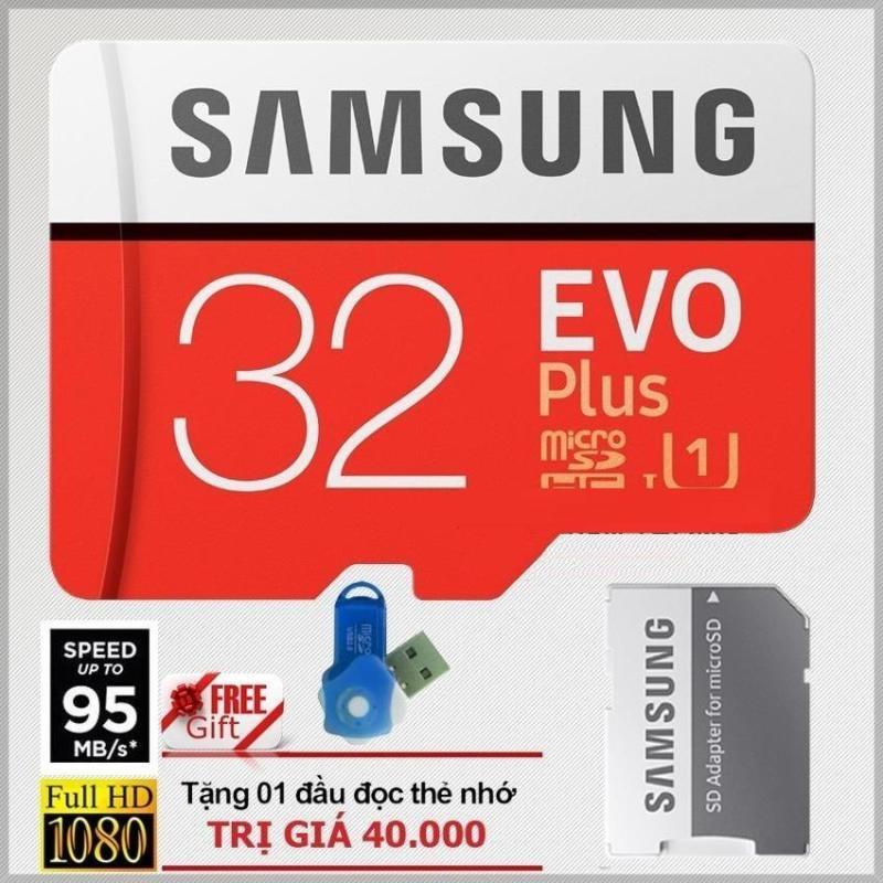 Thẻ nhớ 32gb tốc độ cao MicroSDHC Samsung EVO Plus Adapter (Màu Đỏ )+ Đầu đọc thẻ nhớ micro (Mẫu ngẫu nhiên)