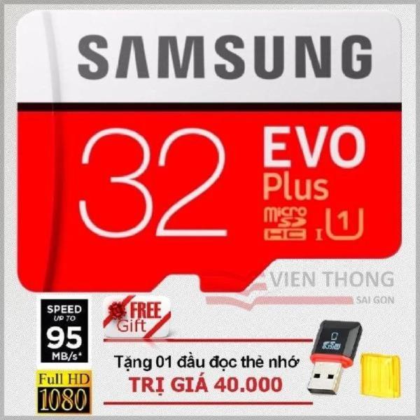 Thẻ nhớ 32gb tốc độ cao MicroSDHC Samsung EVO Plus Adapter (Màu Đỏ )+ Đầu đọc thẻ nhớ micro PT