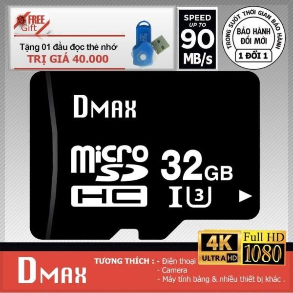 Thẻ nhớ 32GB tốc độ cao U3 , up to 90MB/s Dmax Micro SDHC class 10+Tặng đầu đọc micro PT