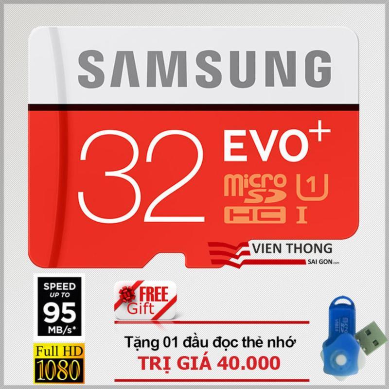 Thẻ nhớ 32gb tốc độ cao Up to 95mb/s MicroSDHC Samsung EVO Plus + Đầu đọc thẻ nhớ micro