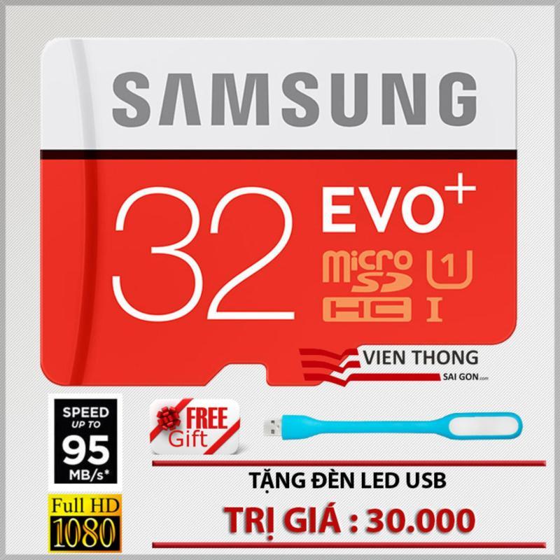Thẻ nhớ 32gb tốc độ cao Up to 95mb/s MicroSDHC Samsung EVO Plus + Đèn Led USB