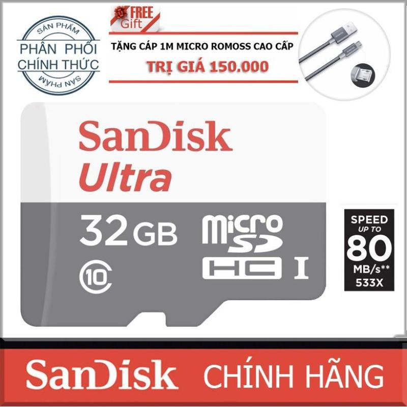 Thẻ nhớ 32gb up to 80mb/s MicroSDHC SanDisk Ultra + cáp micro Romoss 1m - Hãng Phân Phối Chính Thức