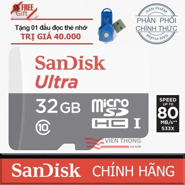 Thẻ nhớ 32gb up to 80mb/s MicroSDHC SanDisk Ultra+ Tặng đầu đọc thẻ nhớ PT