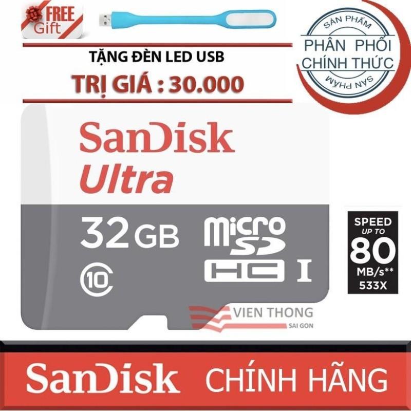 Thẻ nhớ 32gb up to 80mb/s MicroSDHC SanDisk Ultra+Tặng đèn led