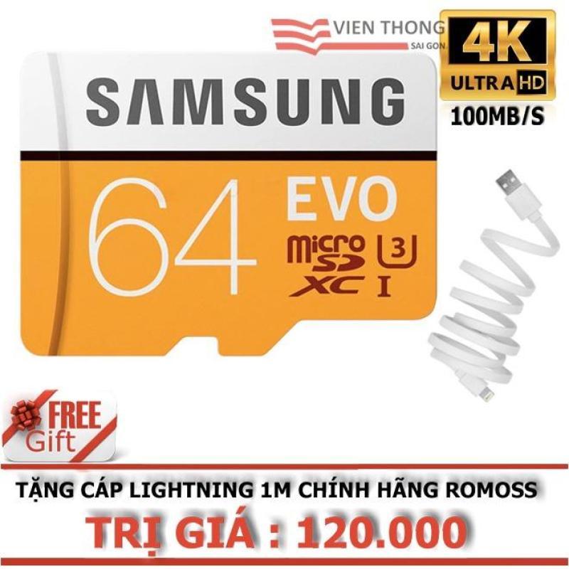 Thẻ nhớ 64GB  MicroSDXC Samsung EVO tốc độ cao (Cam)+ Tặng Cáp sạc iPhone/iPad Lightning Romoss (1M)