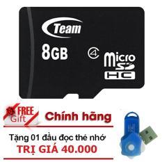 Thẻ nhớ 8GB Team MicroSDHC (Đen) - Hàng chính hãng  + Tặng 1 đầu đọc thẻ nhớ (Mẫu ngẫu nhiên)