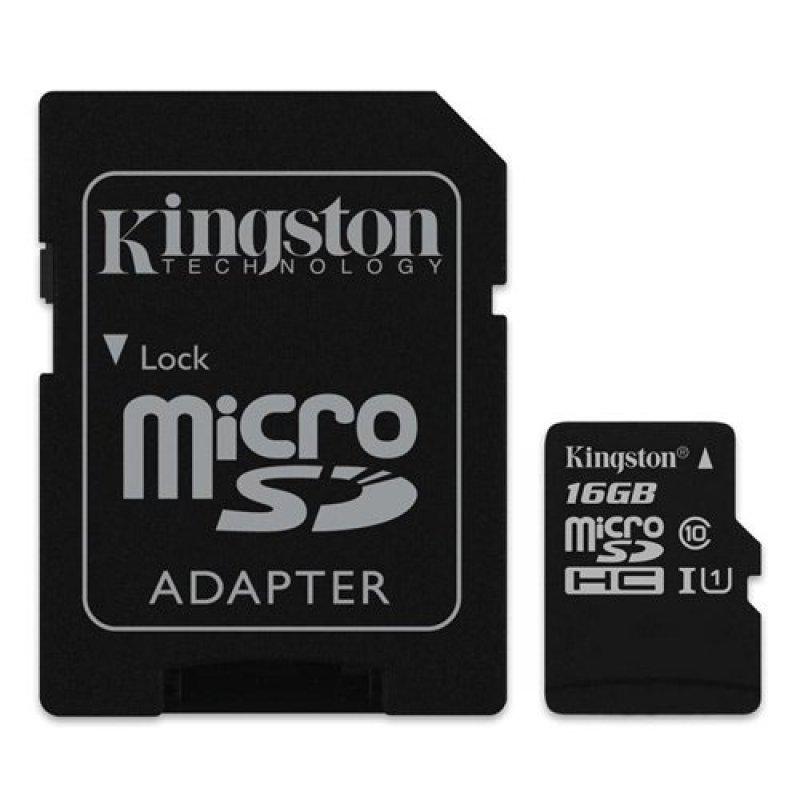 Thẻ nhớ Kingston MicroSD 16GB Class 10 UHS-I có Adapter SD (Tốc Độ Đọc 80 MB/s)