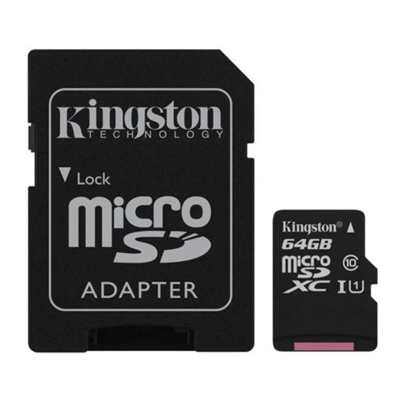 Thẻ nhớ Kingston MicroSD XC 64GB Class 10 UHS-1 có Adapter SD (Tốc Độ Đọc 80 MB/s)