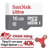 Chiết Khấu Thẻ Nhớ Micro Sd Ultra Sandisk 16Gbclass10 48Mb S Hangphanphốichinh Thức Tặng Đồ Chơi Con Quay 3 Canh Giup Xả Stress Fidget Spinner Mau Ngẫu Nhien Sandisk