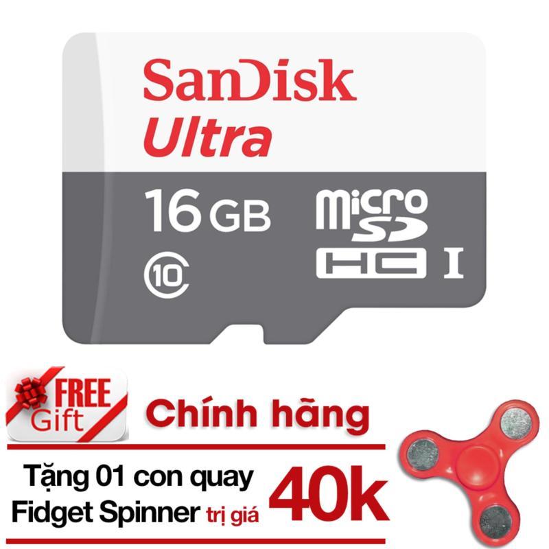 Thẻ Nhớ Micro SD Ultra Sandisk 16GBClass10-48MB/s-HãngPhânphốichính thức + tặng Đồ Chơi Con Quay 3 cánh Giúp Xả Stress Fidget Spinner (màu ngẫu nhiên)