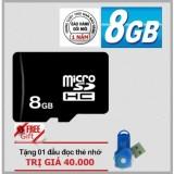 Thẻ nhớ Micro SDHC 8GB (Đen) + Tặng 1 đầu đọc thẻ nhớ các loại