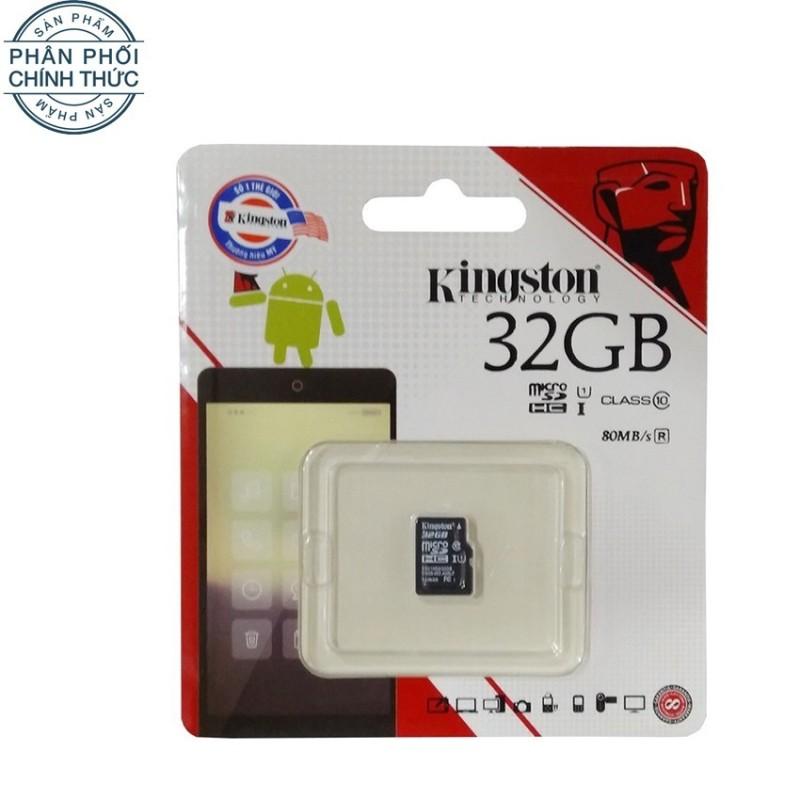 Thẻ nhớ Micro SDHC Kingston Class 10 UHS-I 80MB/s 32GB (Đen) - Hãng phân phối chính thức