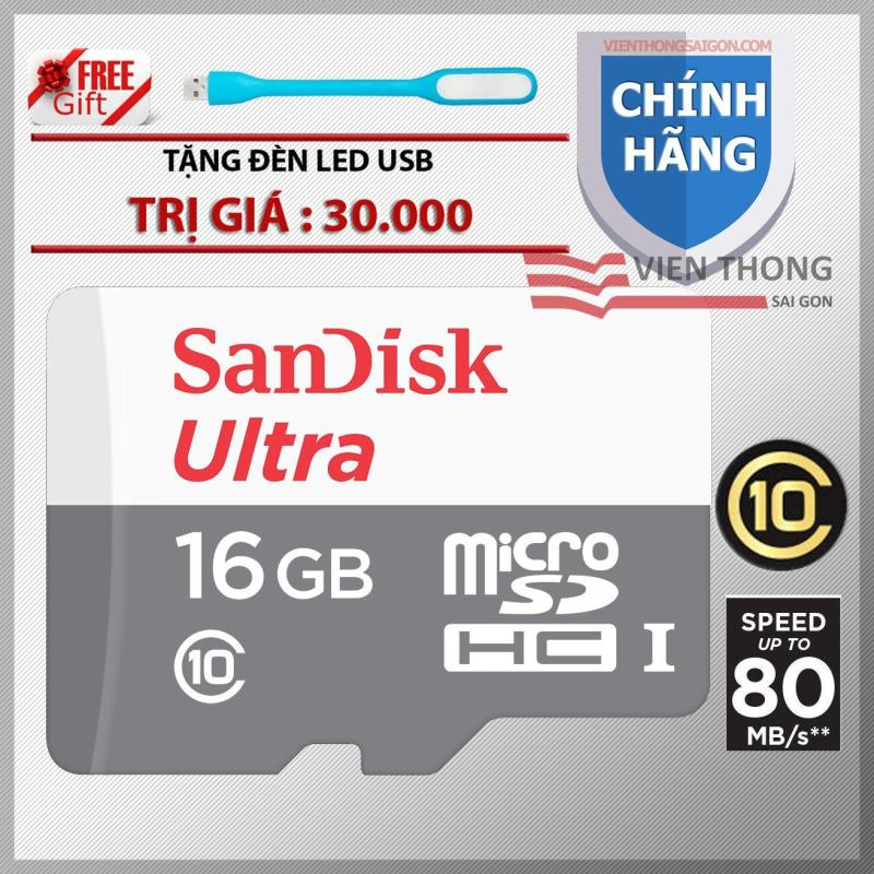 Thẻ Nhớ Micro SDHC Ultra Sandisk 16GB Class 10 tốc độ cao lên đến 80MB/s -HãngPhânphối chính thức +Tặng đèn led usb