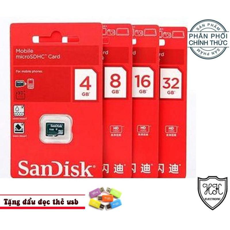 Thẻ nhớ MicroSD Sandisk 16G PHÂN PHỐI CHÍNH THỨC  (TẶNG ĐẦU ĐỌC THẺ USB)