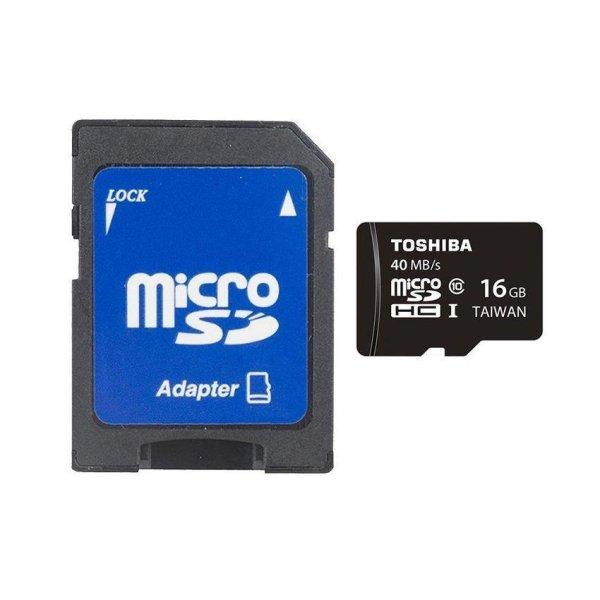 Thẻ nhớ MicroSD Toshiba 16GB 40MB/s Class 10 và adapter (Đen)