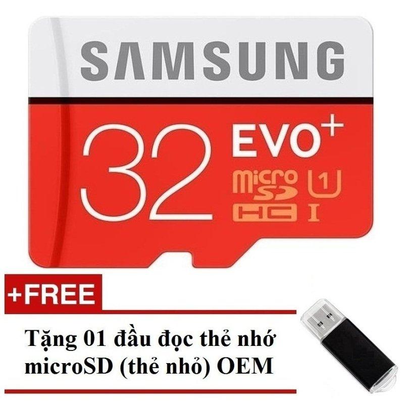 Thẻ nhớ MicroSDHC Samsung Evo Plus 32GB 80MB/s (Đỏ) + Tặng 01 đầu đọc thẻ nhớ MicroSD OEM