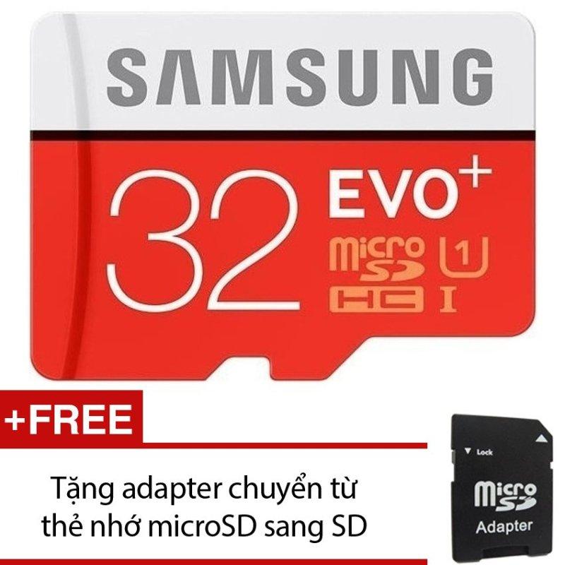 Thẻ nhớ MicroSDHC Samsung EVO Plus 32GB 80MB/s (Đỏ) +Tặng 1 adapter chuyển từ thẻ nhớ microSD sang SD