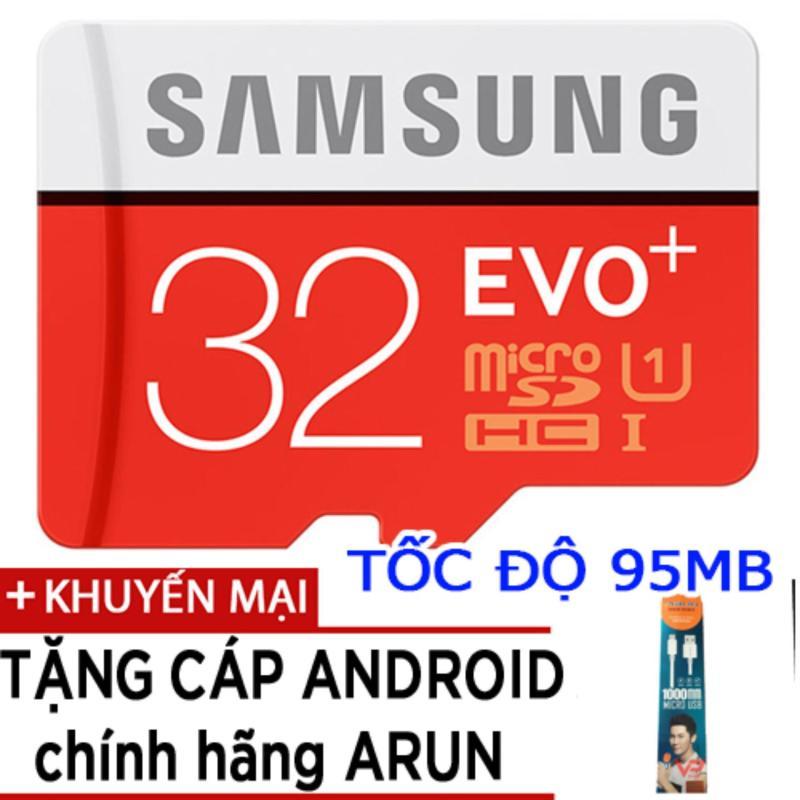 Thẻ nhớ MicroSDHC Samsung EVO Plus 32GB tốc độ 95MB/s tặng cáp android