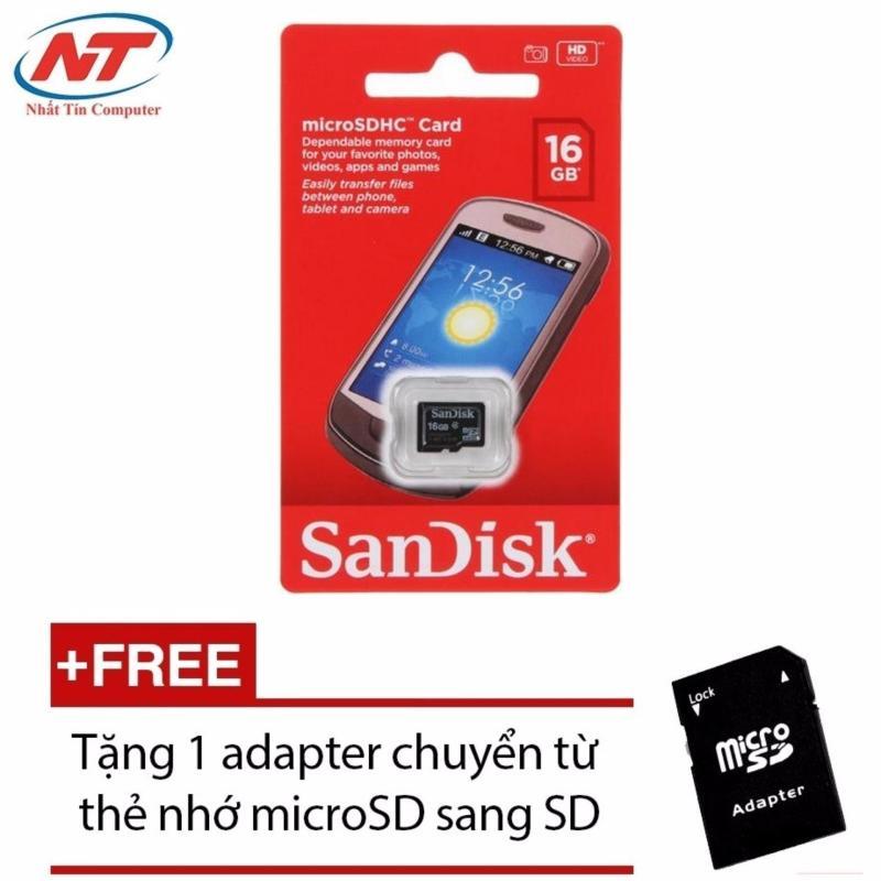 Thẻ nhớ MicroSDHC Sandisk 16GB Class 4 + Tặng 01 adapter microSD