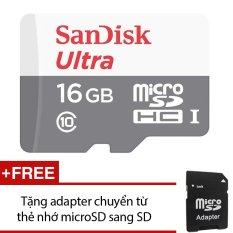 Thẻ Nhớ MicroSDHC SanDisk Ultra 16GB 48MB/s (Xám) +Tặng 1 adapter chuyển từ thẻ nhớ microSD sang SD
