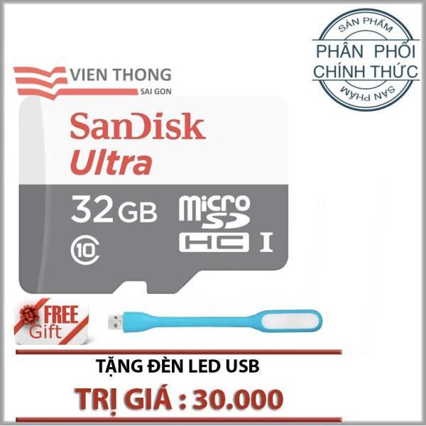 Thẻ nhớ 32gb up to 80mb/s MicroSDHC SanDisk Ultra (xám đỏ )+ Tặng 1 đèn led cổng usb